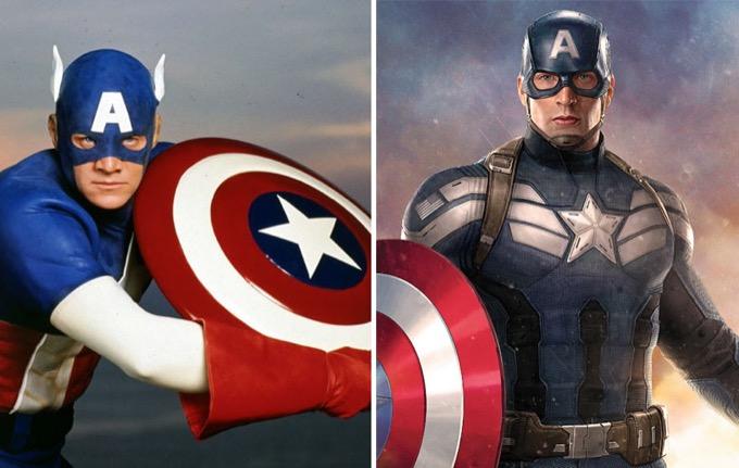 Captain America en 1990 et 2016